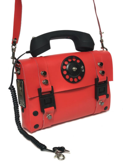 red shoulder bag retro black telephone handle