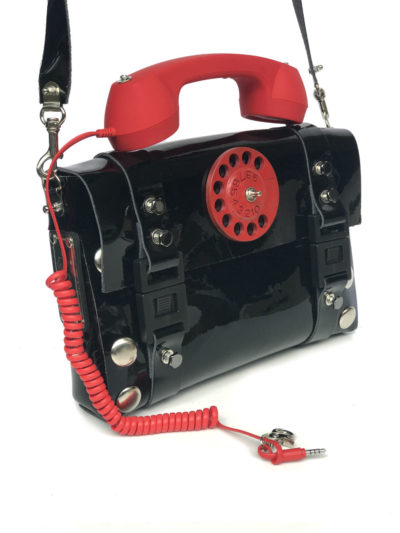 black shiny leather shoulder bag retro red telephone handle unusual statement
