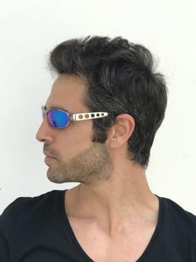 clear goggles sunglasses metal temples blue mirror lens Hi Tek