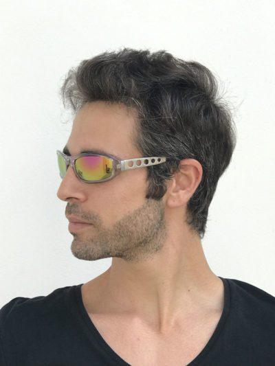clear goggles sunglasses metal temples pink mirror lens Hi Tek