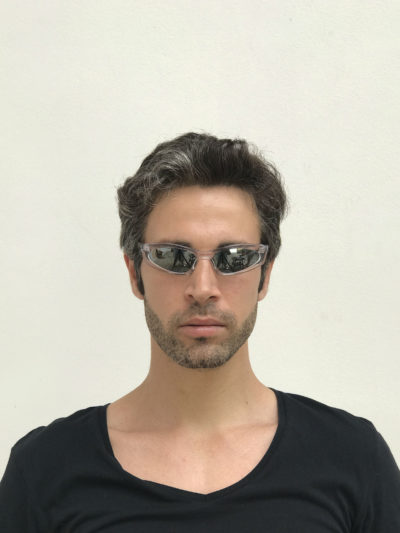 rectangle clear frame sunglasses mirror lens sci fi Cybergoth NOS punk era HT-5605