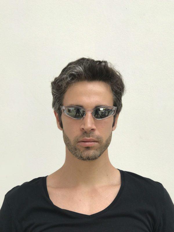 rectangle clear frame sunglasses mirror lens Cybergoth NOS punk era HT-5605