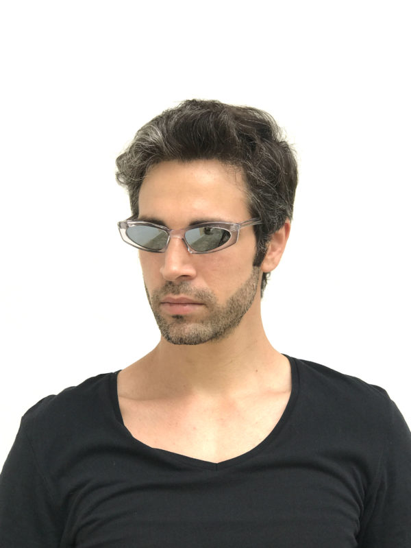 rectangle clear frame sunglasses mirror lens Cybergoth NOS punk era HT-5605