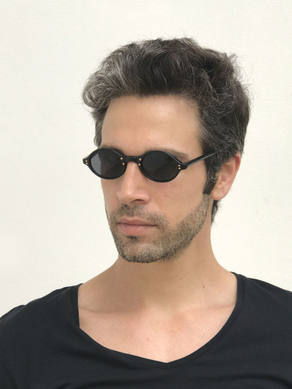 small black oval sunglasses