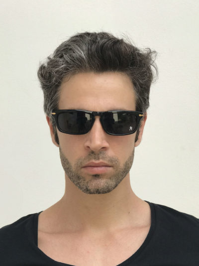 black oblong sunglasses