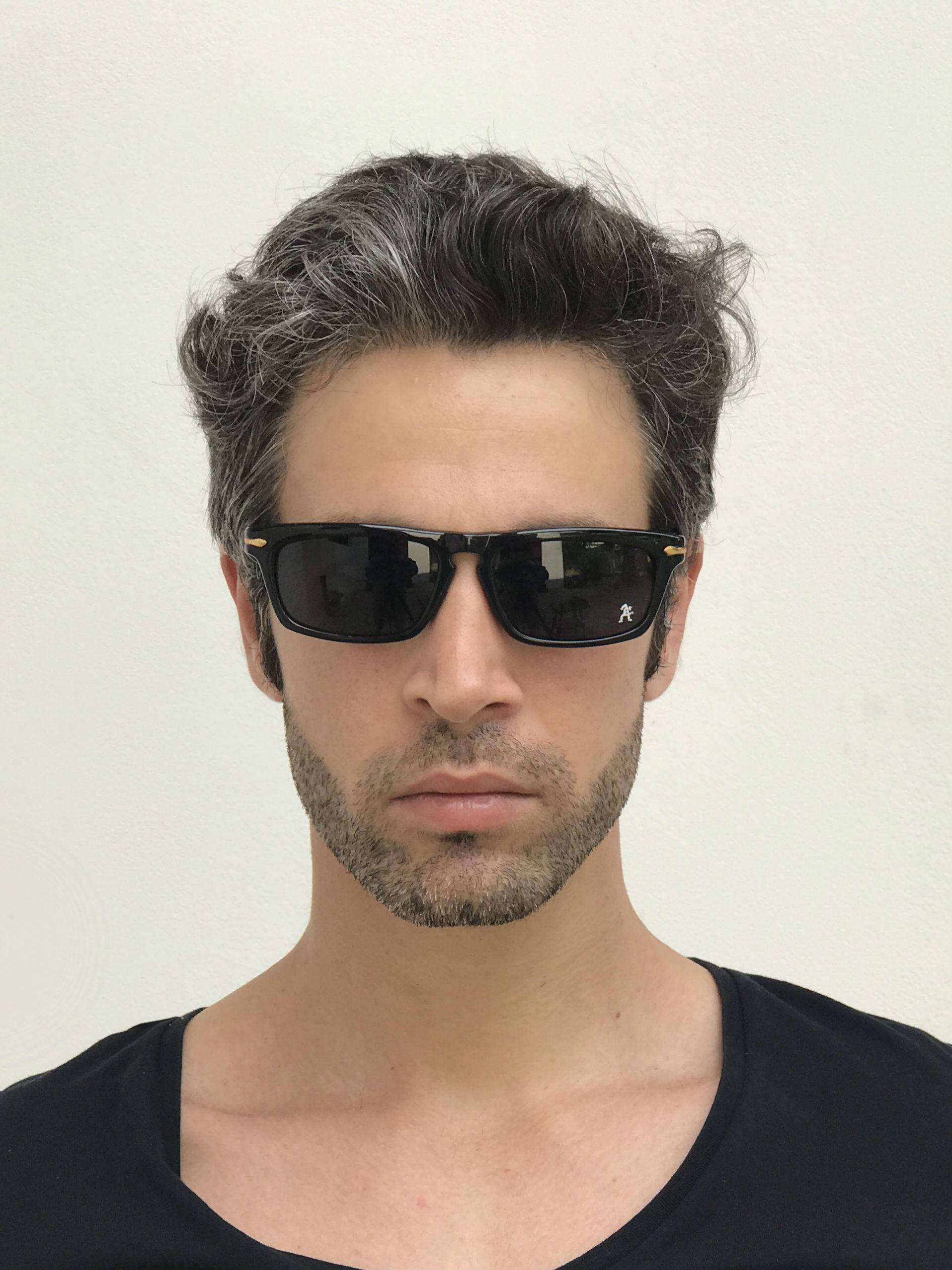 black oblong sunglasses
