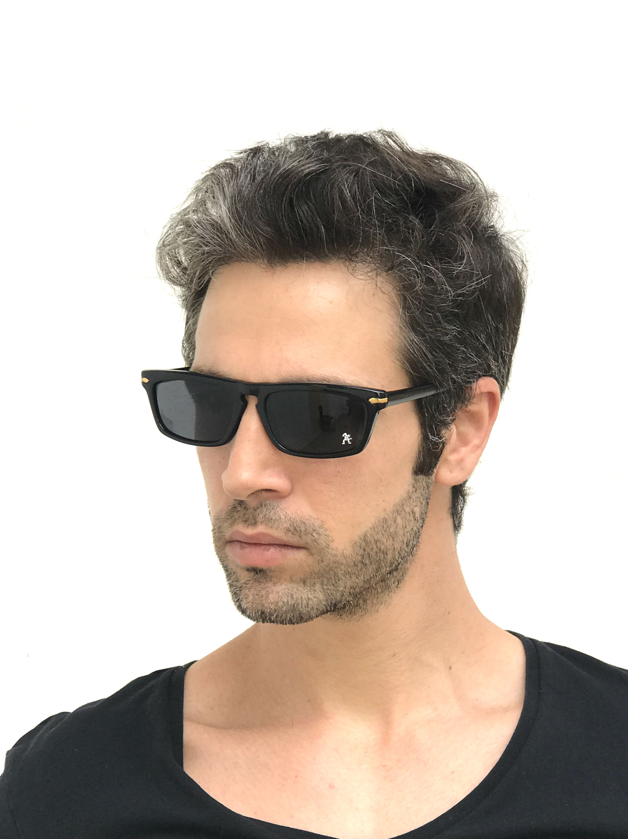 020042bd8f Black oblong sunglasses for men NOS 90 s punk era