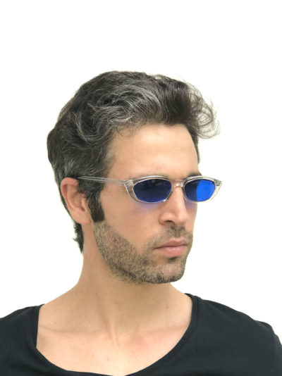 clear oblong sunglasses blue lens Steampunk HT-5308