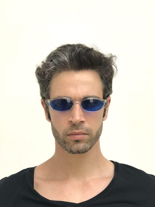 clear oblong sunglasses blue lens Steampunk HT-5308