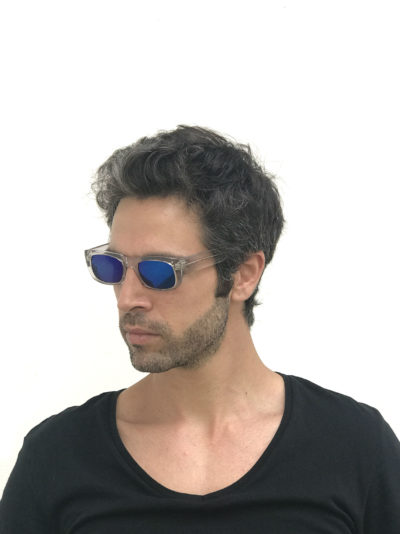 unisex rectangular clear sunglasses blue  mirror lens retro